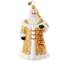 """Winter Elegance"" (Golden Santa) Christopher Radko Glass Ornament w/ Box (#25)"