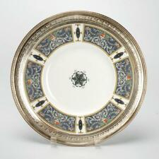 VINTAGE ROYAL WORCESTER ROUND SERVING PLATE W/ STERLING RIM BY WATSON CO.