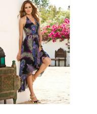 Gorgeous $169 Boston Proper Peacock Feather Cascade Black Dress, size 6, NEW