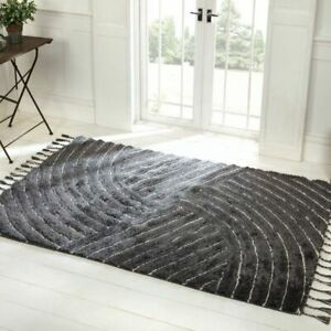 Eclectic Auckland Grey Thick Pile Modern Handwoven Wool Mix Rug 50%OFF RRP