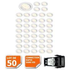 LOT DE 50 SPOT LED ENCASTRABLE ORIENTABLE BLANC AVEC AMPOULE GU10 230V eq. 50W