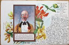 Monocle-Wearing Man 1899 Color Litho Postcard - Red & Yellow Flowers