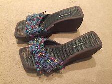 DKNY multicolour suede cork wedge platform sandals IT 39.5