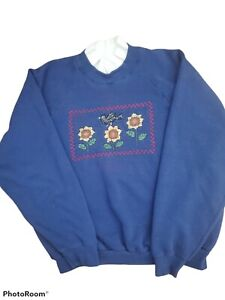 Vintage floral design Collared Sweatshirt  Sz XL grandma style