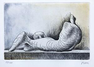 "1976 Henry Moore """" reclining figure - right "" original hand signed  engravig"