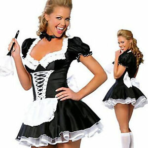 Hot Large Sexy Women Costume Cosplay French Maid Lingerie Outfit Dress Halloween