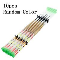 10pcs Portable Wood Light Stick Drift Tube Bobber Fishing Float Random Color