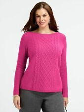 NEW TALBOTS CENTER-CABLE BATEAU SWEATER PULLOVER TUNIC SIZE XL 14-16  