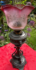 Victorian Gothic~Art Nouveau Oil Lamp Cranberry Satin Glass Deep Etched Shade