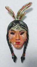 Vintage Coro Indian Princess Fur Clip Brooch 1942 Enamel KATZ Figural Woman Face