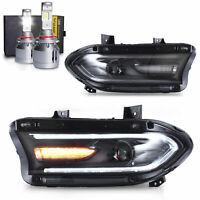 LED Headlights w/DRL Sequential Turn Sig.+VLAND 9005 LED Bulbs for 15-20 Charger