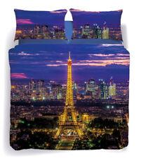 Set Copripiumino Lenzuola Matrimoniale Paris Parigi La Tour Blu City Caleffi