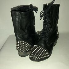 Steve Madden Tarney Women's 7.5 Black Leather Studded Lace Up Combat Ankle Boots