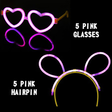 HEN PARTY PACK GLOW IN THE DARK PINK THEMES GLASSES HAIRPIN GLOW LIGHT STICKS