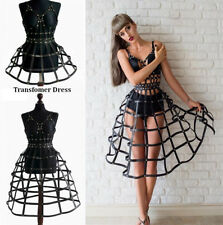 Women's PU Leather Harness Cage Skirt Full Corset Bustier Bra Fetish BDSM Belt