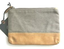 HEARTH & HAND Magnolia Canvas Leather Cosmetic Makeup BAG Clutch Pouch Gray NWT