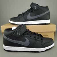 Nike SB Dunk Mid Pro ISO Orange Label Skate Shoes Mens Size 8 Black White Grey