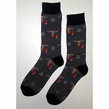 NWT Holiday Moose Dress Socks Novelty Men 8-12 Gray Fun Sockfly
