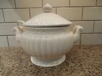 Vintage Cream Ceramic Soup Tureen - Bowl, Lid & Ladle - Creamware Round Fluted