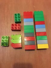 Lego Duplo Lot Of 26 2x3 Pieces Bricks Slopes Colors Red Blue Yellow Green Grey