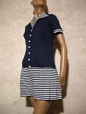 CHIC VINTAGE JERSEY 1960 VTG DRESS 60s MOD NAVY TWIGGY KLEID 60er ABITO (36)