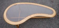 Vintage Signed LANE Kidney Shaped Glass Top Coffee Table Mid Century Modern