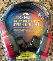Vintage New JWIN Stereo JX-H2 Sports AM/FM Radio Headphones RED New in Clamshell