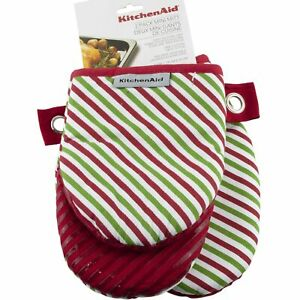 Kitchenaid 2 Pack Mini Oven Mitt Christmas Red Green Striped Silicone Grip