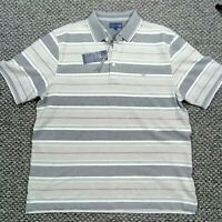 Lincoln Short Sleeved Casual Polo Shirt Blue N Green Striped Mens size  XL