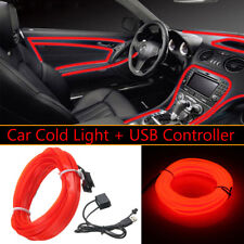 3M 5V USB Red LED Light Glow EL Wire String Strip Rope Tube Car Interior Decor