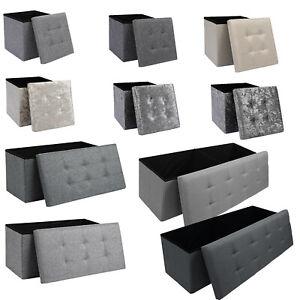 Folding Ottoman Storage Box Pouffe Seat Stool Home Chair Foot stool Bench LINEN