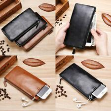 Men's Leather Zipper Long Wallet ID Card Holder Purse Checkbook Billfold Jewelry
