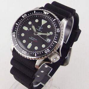 41mm Tandorio black dial luminous Japan NH35A Automatic 20atm diving mens Watch