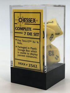 Chessex 7 die set vtg new yellow & black polyhedron RPG D&D dice RARE! 2542