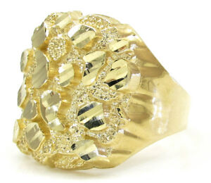 10k Solid Yellow Gold Diamond Cut Nugget Ring Size 7-11