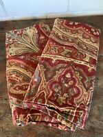 Pottery Barn EURO Shams Alice Paisley Red Gold PAIR