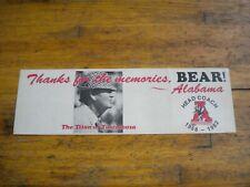 Vintage 1982 University of Alabama Crimson Tide Bumper Sticker Paul Bear Bryant