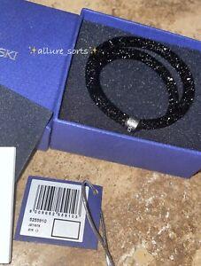 NEW*SWAROVSKI Crystal Dust Double Jet Black StainlessSteel Bangle Bracelet Small