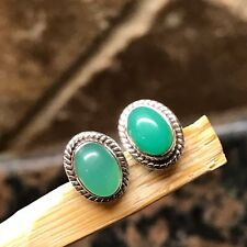 Natural Australian Green Chrysoprase 925 Solid Sterling Silver Stud Earrings 7mm