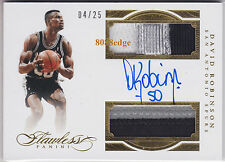 2015-16 FLAWLESS DUAL PATCH AUTO: DAVID ROBINSON #4/25 ON CARD AUTOGRAPH SPURS