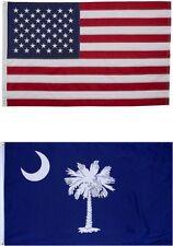 2x3 USA Flag & South Carolina 2 Sided Embroidered American Flag USA SHIPPER