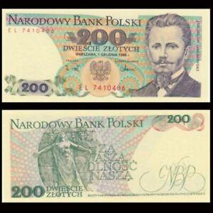 Poland 200 Zlotych 1988 (UNC) 全新 波兰 200兹罗提纸币 1988年 EE6688905