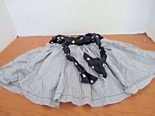 OSH KOSH Navy Blue Gray Striped Skirt w/ Polka Dots~Shorts Underneath~Girls 4