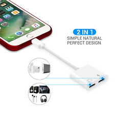 Für iPhone X 7/8 Plus 2 x8Pin Kopfhörer Audio Kabel Adapter Ladegerät Splitter