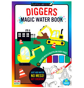 Children's Kids DIGGERS Magic Water Painting Colouring Book Activity No Mess