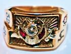 Vintage Antique Mens Masons 14k Gold Diamond & Ruby Masonic Ring 12.25 grams  for sale