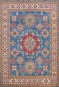 Vegetable Dye Geometric Super Kazak Oriental Area Rug Hand-knotted 9'x12' Carpet
