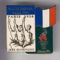 RARE PINS PIN'S .. OLYMPIQUE OLYMPIC ATLANTA 96 TEAM FRANCE PARIS 1924  BIG ~18