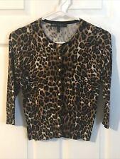 White House Black Market - leopard Print Button Up Cardigan Sweater Size Xs