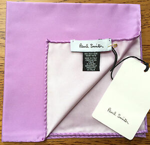 PAUL SMITH 100% SILK REVERSIBLE LILAC POCKET SQUARE MADE IN ITALY BNWT